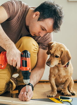 Man drilling and being watched by a dog